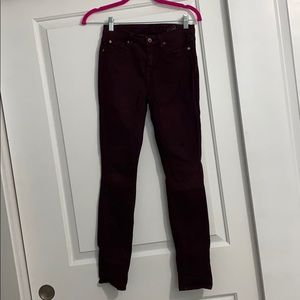 7 for all mankind skinny ankle jeans in maroon